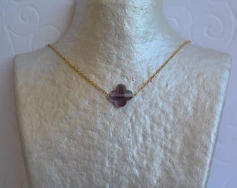 Purple amethyst clover necklace and gold chain