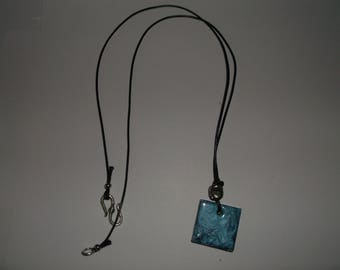 11 blue resin necklace