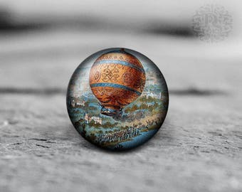 Steampunk , hot air balloon, 25mm 30mm, Round Glass Cabochon, from Diana's Magic Shop