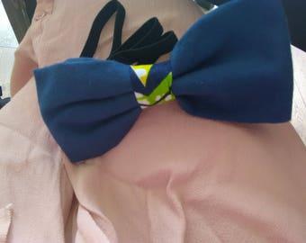 Bow tie blue wax fabric green yellow black