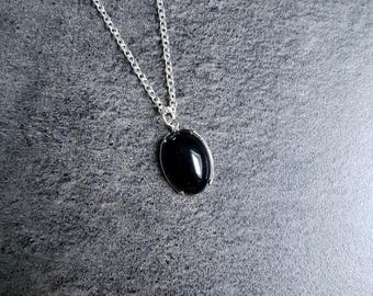 Nickel free silver chain and Onyx gemstone necklace