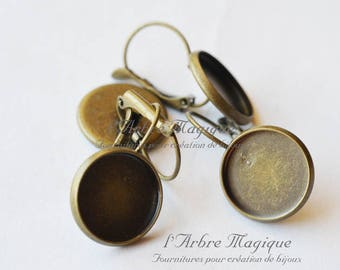 bronze 4 brackets cabochon 14 mm lever back earrings