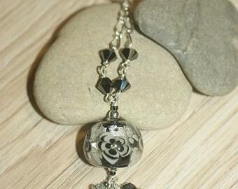 """""""Flora"""" black - silver necklace"""