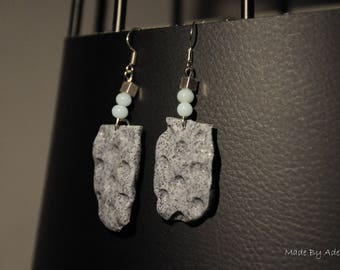 """Earrings """"stamped granite and light blue glass beads"""""""