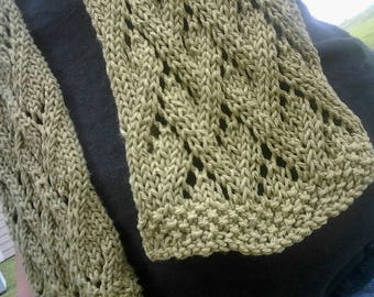 Olive Grapevine Lace hand knitted scarf