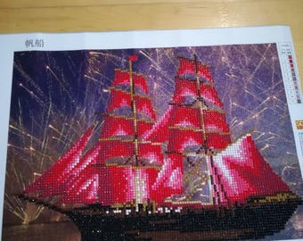 Diamond painting image, handmade & Framed, Chinese ship