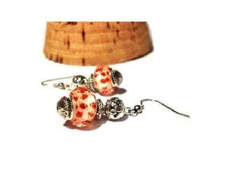 Retro earrings, red mottled beads