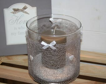 modern candle holder white and taupe glass