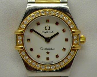 "Vintage Omega Constellation ""My Choice""  Diamond Bezel 14kt Gold & Stainless Steel lady's Wrist Watch"