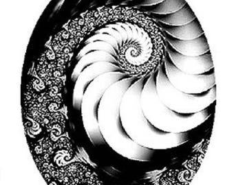 25x18mm black and white swirl