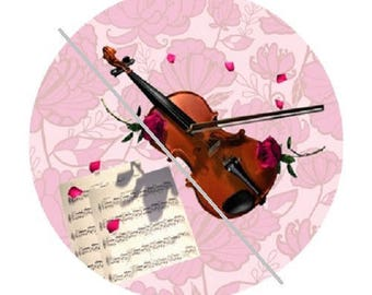 cabochon 25mm, music, violin and hearts