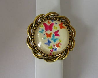 multicolored butterfly Ring
