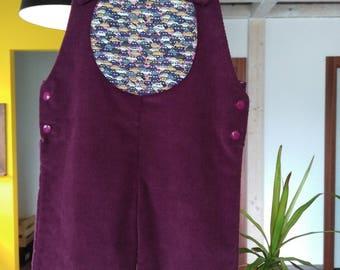 Aubergine velvet overalls lined 12 months