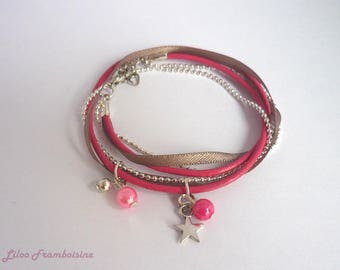 Bracelet doubles tour pink leather, chain and satin