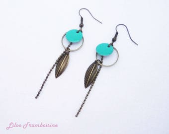 Enamelled sequin and bronze dangle earrings