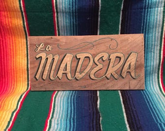 """Hand painted wooden """"wood"""" sign"""