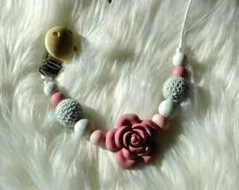 Rose Pacifier Clip- Pink and Gray