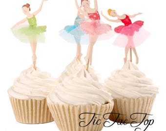 Ballet Ballerina Party Food Cupcake Cake Topper Pick. Party Supplies Bunting Lolly Loot Bags Superhero Dance Dancing Opera