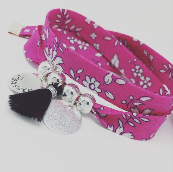 Personalized Bracelet GriGri XL Liberty of London Capel Fuchsia with engraving