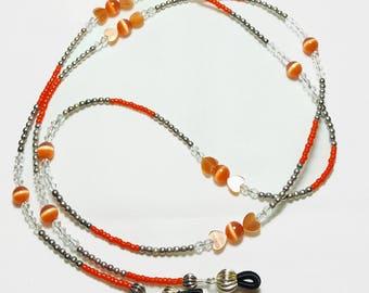 Sterling Silver Orange Cats Eye Beaded Eyeglass Chain