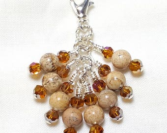 Leopardskin Agate Gemstone Topaz Crystal Zipper Pull Pendant
