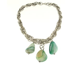 925 Silver necklace with AGATE green, Vintage Choker with Semi-precious Agate pendants, Necklaces with Agate