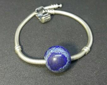 Lapis lazuli 1 piece Large Hole Bead 16mm round shape - natural gemstone