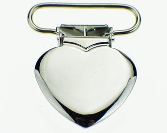SET of 20 clips heart metal pacifier clip crocodile strap 16mm