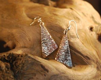 """Silver """"crinkle"""" triangle earrings"""