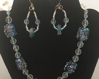 Lampwork Beaded Blue Necklace