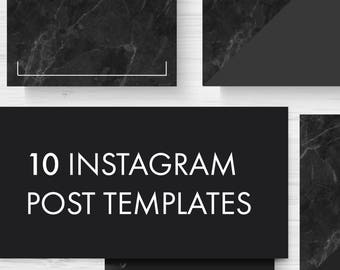 Marble Instagram Post Template / Sophisticated Luxurious Marble / Set of 10 / Black White Pattern