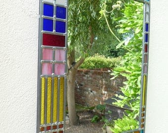 Stained Glass Art Deco Style Mirror
