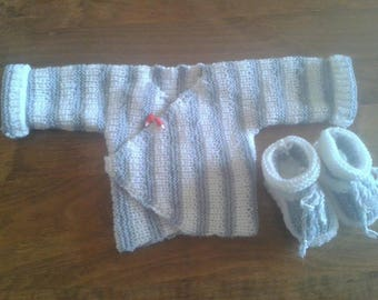 Entire jacket and booties size newborn to 1 month