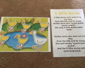 5 little ducks Song card EYFS Childminder Song time resource