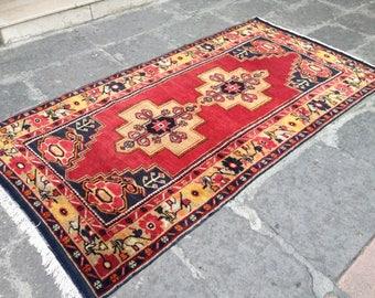 Turkish rug, Vintage rug, Handmade rug, Area rug, Nomadic rug, Wool rug, Bohemian rug, Rug// FREE SHİPPİNG !! 238 x 128 cm = 7.7 ft x 4,1 ft