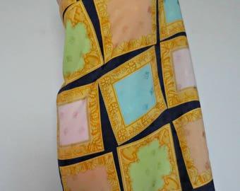 Vintage Big silk square scarf signed Enrico Coveri. Italian haute couture. 1990
