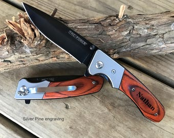 Initials, Custom Pocket Knife, Engraved Gift, Personalized For Him, Closing Gifts, Skinning Knife, Holiday Gifts, Unique Gifts For Men