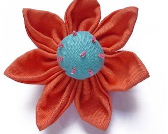 1 big flower kanzashi 7.5 cm orange coral and sky blue - set no. 160707015