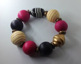 Upcycled Wooden Bead Bracelet