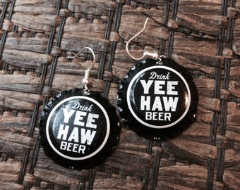 Yee Haw bottle cap earrings