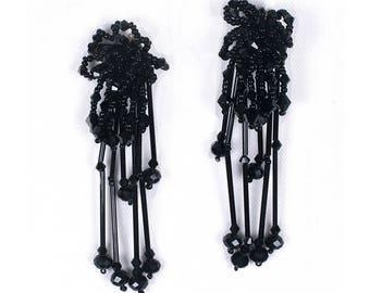 Beaded tassels clip earrings