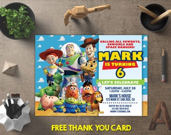 Toy Story Invitation, Toy Story Birthday, Toy Story Invites, Toy Story Printables, Toy Story Party, Toy Story Theme, FREE 4x6 Thank You Card