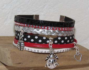 "Cuff Bracelet, suede, leather, multi strand, black, red, white, silver glitter, charm lady bug ""Ladybug"" bracelet for women."