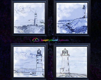 "Four Lighthouses - 12"" x12"" HD Digital Prints"
