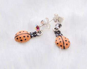 Genuine 925 Silver Cute Ladybug Dangling Drop Earrings