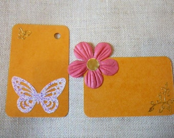 """Set of orange tags decorated on the theme """"heyday"""" for scrapbooking - labels"""