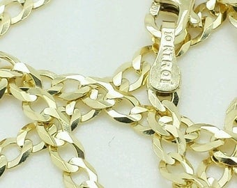 """10k Solid Yellow Gold High Polish Cuban Curb Necklace Pendant Chain 18"""" 20"""" 2.8mm"""