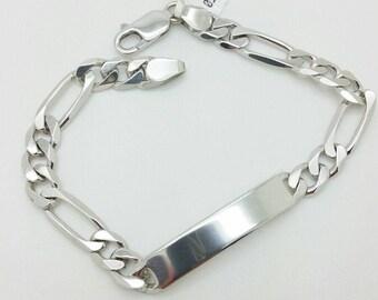 "925 Solid Sterling Silver Figaro ID Bracelet 8.5"" 8mm"