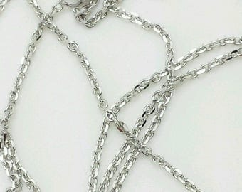 """14k Solid White Gold Adjustable Cable Necklace Pendant Chain Up to 22"""" 30"""" .9mm"""