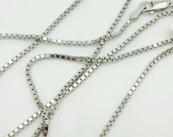 "14k Solid White Gold Box Link Necklace Pendant Chain 16""-30"" 1.1mm"